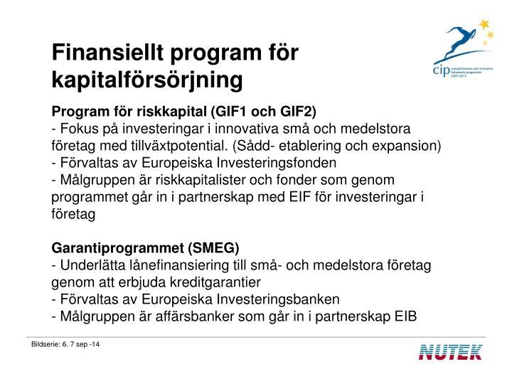 Finansiellt program för kapitalförsörjning
