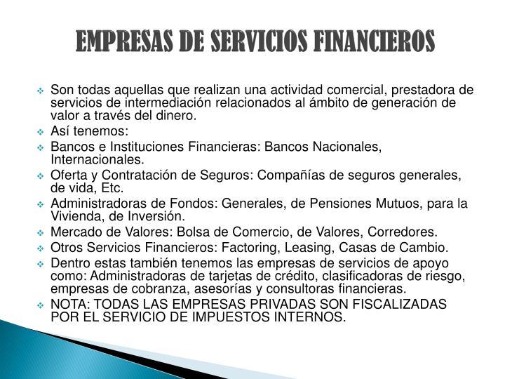 EMPRESAS DE SERVICIOS FINANCIEROS