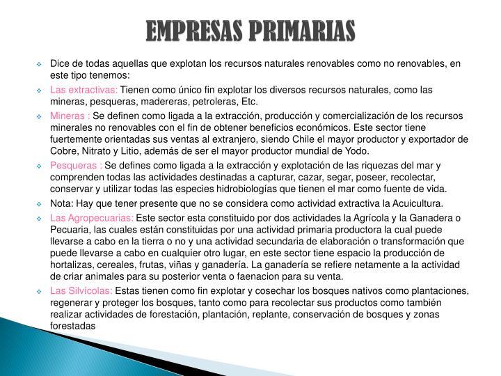 EMPRESAS PRIMARIAS