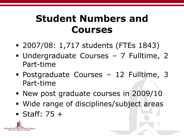 Student Numbers and Courses