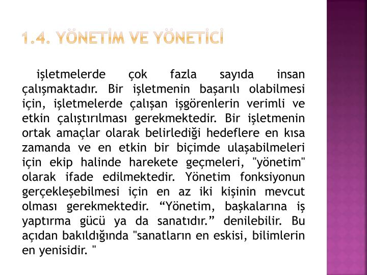 1.4. YNETM VE YNETC