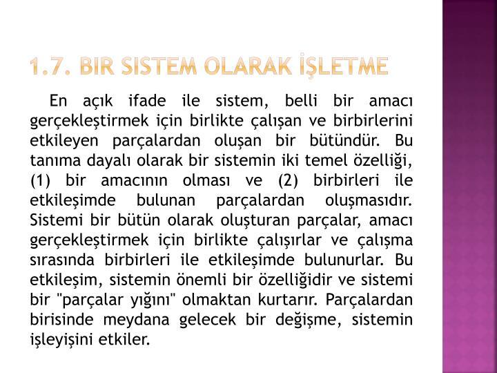1.7. Bir Sistem Olarak İşletme