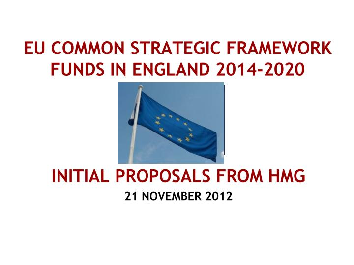 Eu common strategic framework funds in england 2014 2020