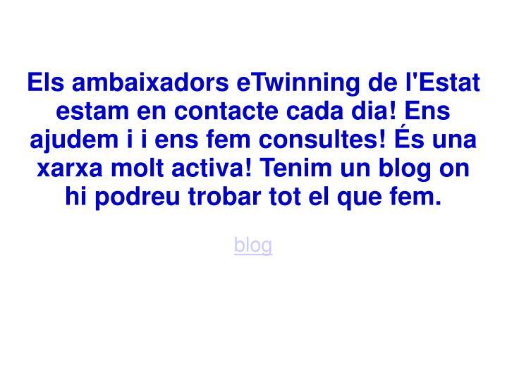 Els ambaixadors eTwinning de l'Estat estam en contacte cada dia! Ens ajudem i i ens fem consultes! És una xarxa molt activa! Tenim un blog on hi podreu trobar tot el que fem.