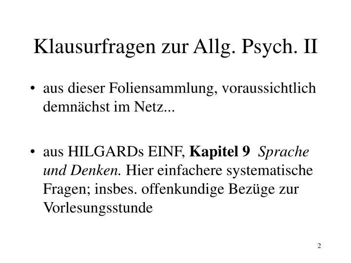 Klausurfragen zur Allg. Psych. II