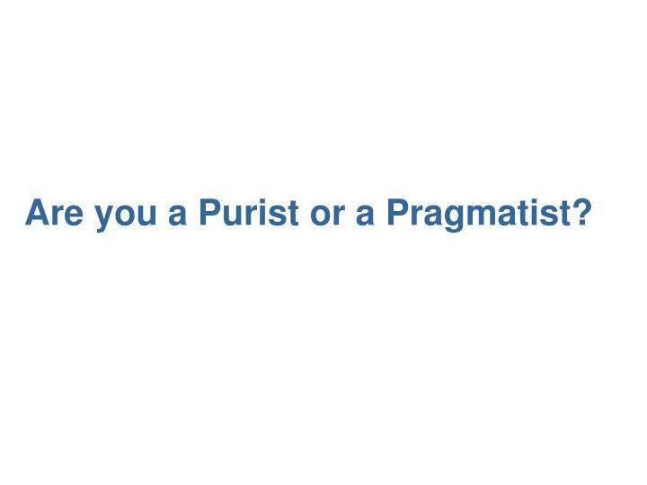 Are you a Purist or a Pragmatist?