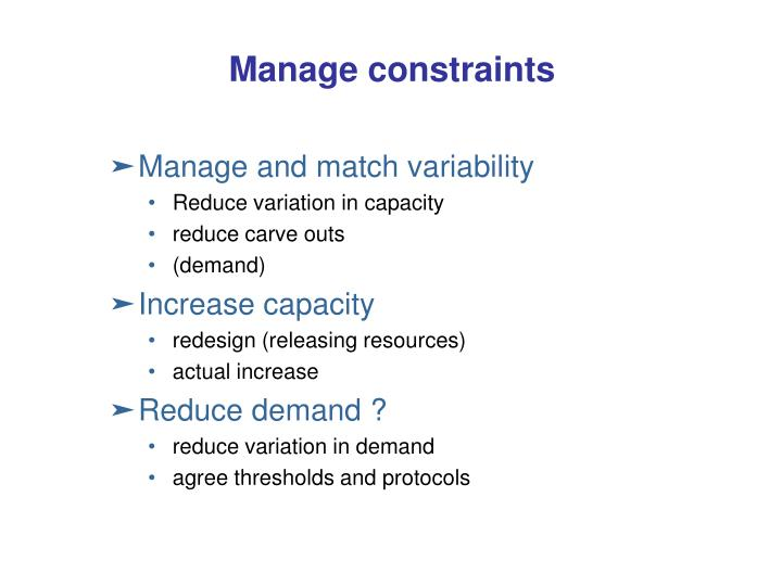 Manage constraints