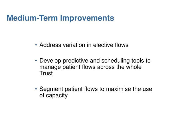 Medium-Term Improvements