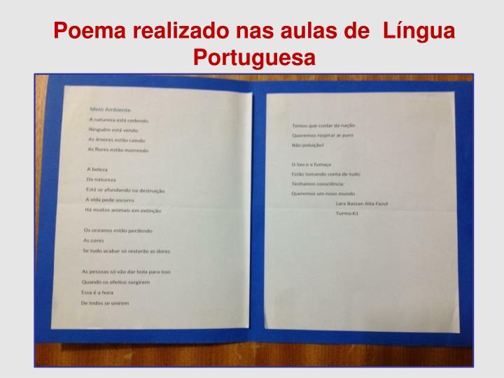 Poema realizado nas aulas de  Língua Portuguesa