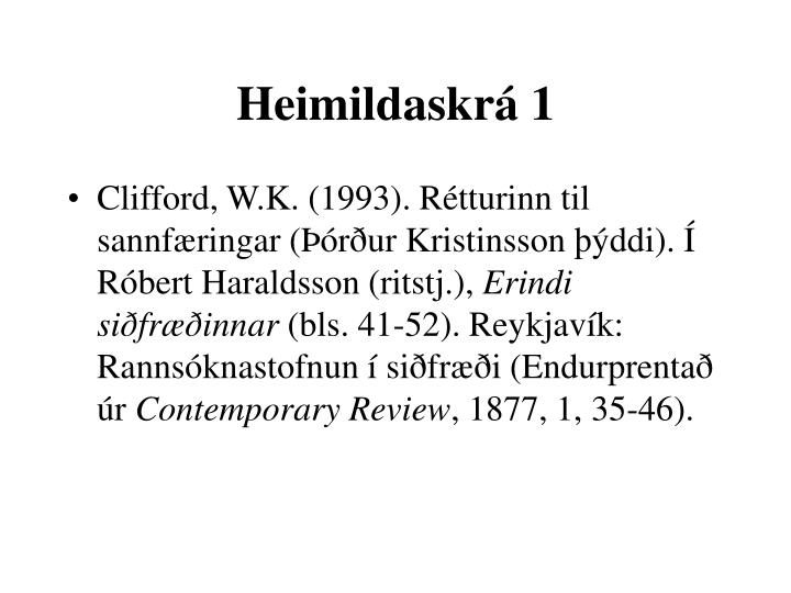 Heimildaskrá 1