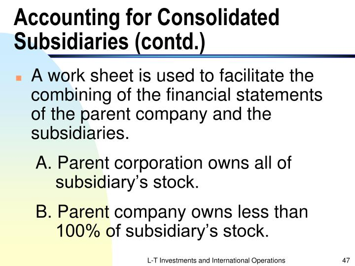 Accounting for Consolidated Subsidiaries (contd.)