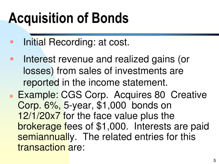 Acquisition of Bonds