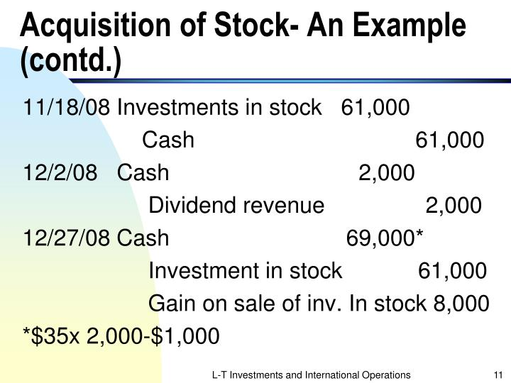 Acquisition of Stock- An Example (contd.)