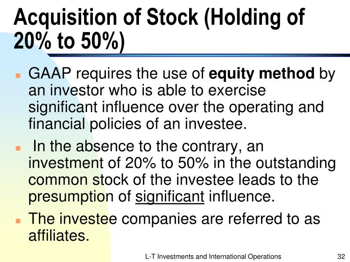Acquisition of Stock (Holding of 20% to 50%)