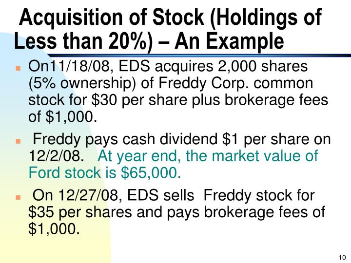 Acquisition of Stock (Holdings of Less than 20%) – An Example