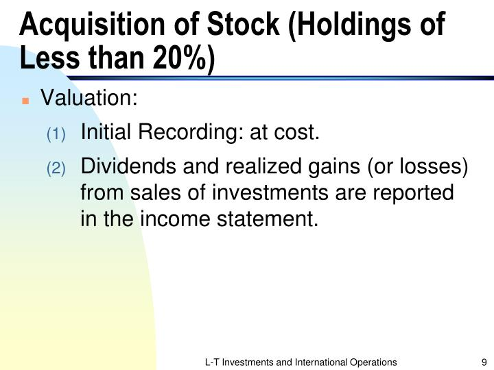 Acquisition of Stock (Holdings of Less than 20%)