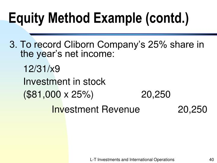 Equity Method Example (contd.)
