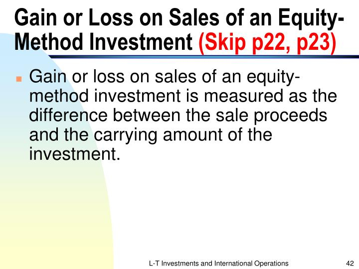 Gain or Loss on Sales of an Equity-Method