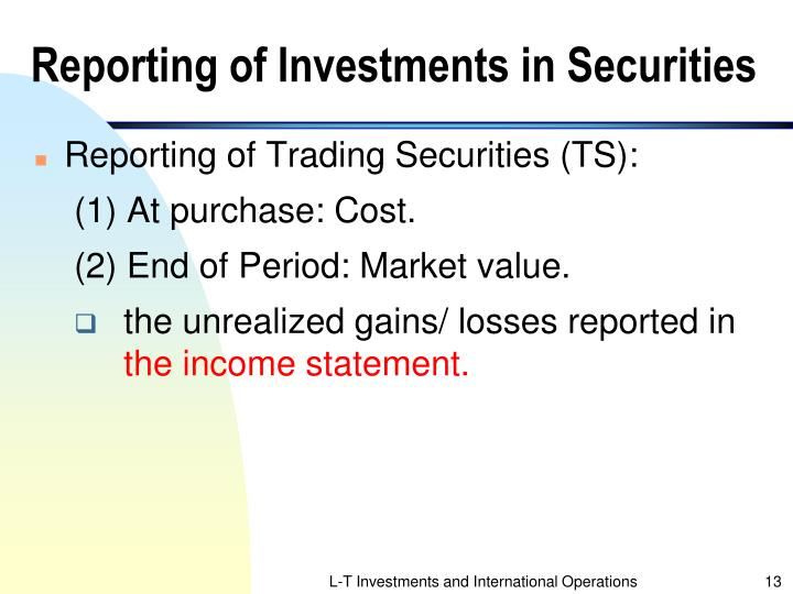 Reporting of Investments in Securities