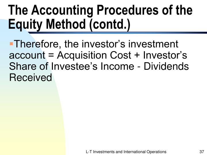 The Accounting Procedures of the Equity Method (contd.)