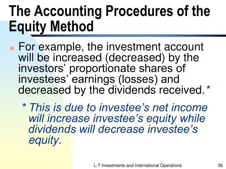 The Accounting Procedures of the Equity Method