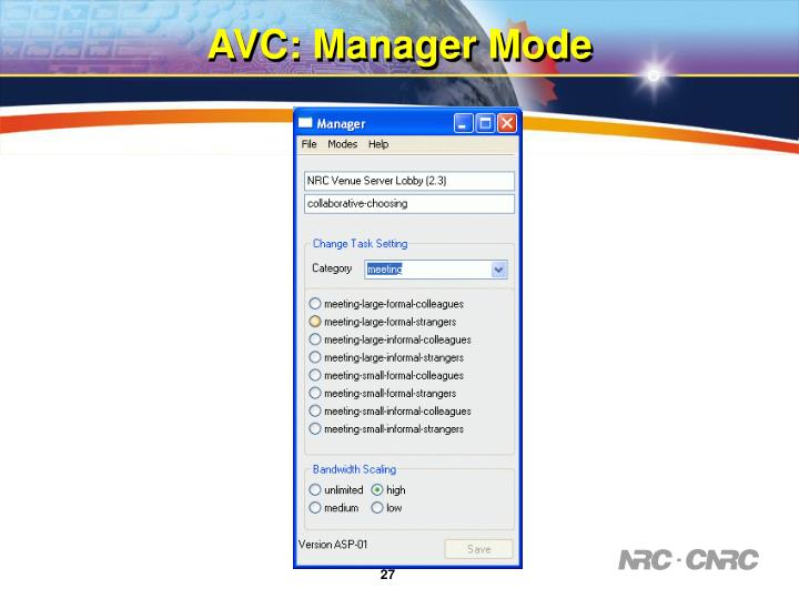 AVC: Manager Mode