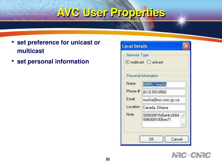 AVC User Properties