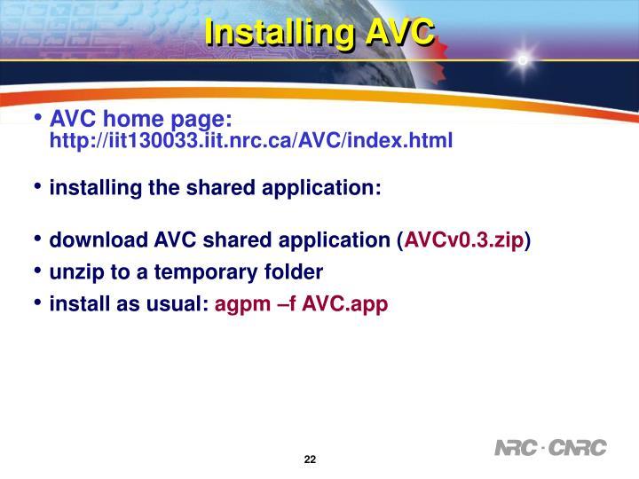 Installing AVC