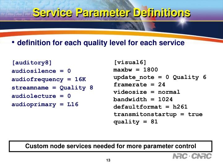 Service Parameter Definitions