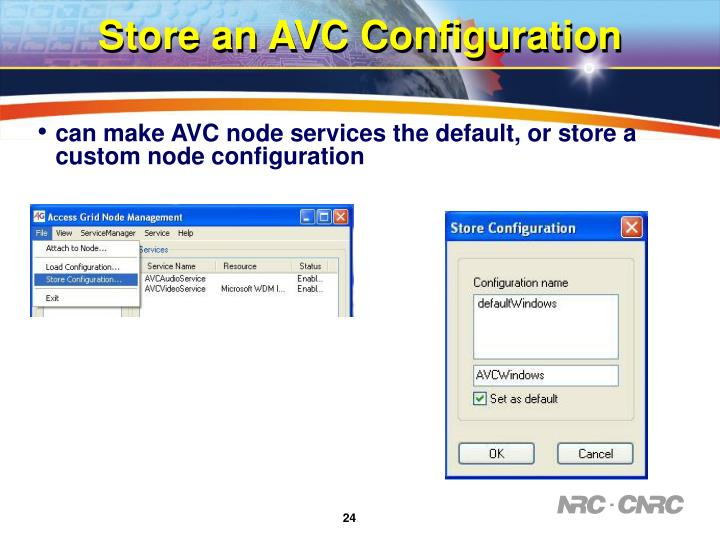 Store an AVC Configuration