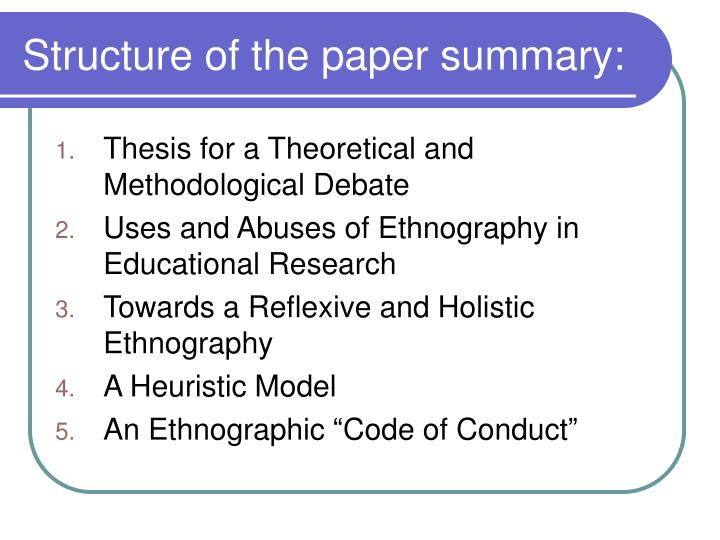 thesis ethnography paper