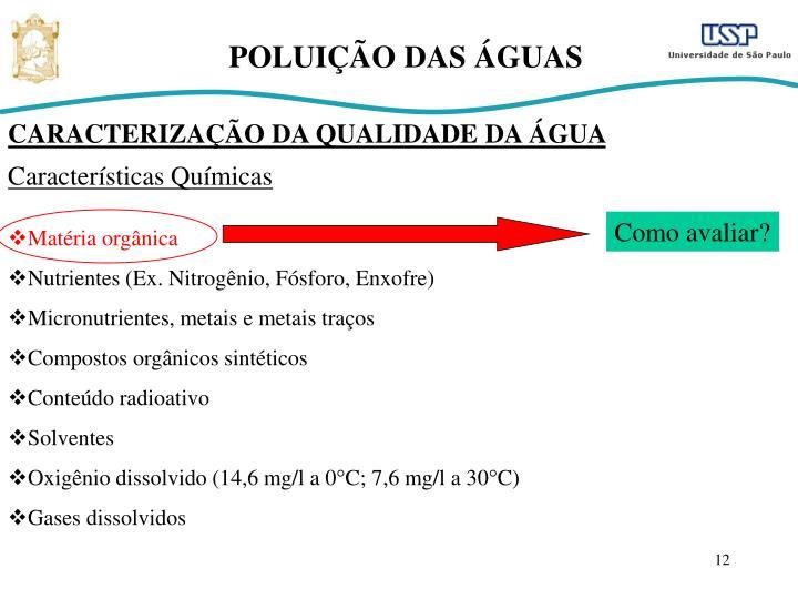 POLUIÇÃO DAS ÁGUAS