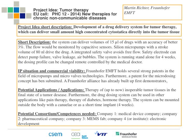 Project idea tumor therapy eu call phc 12 2014 new therapies for chronic non communicable diseases