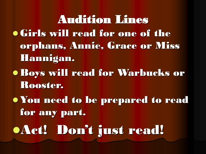 Audition Lines