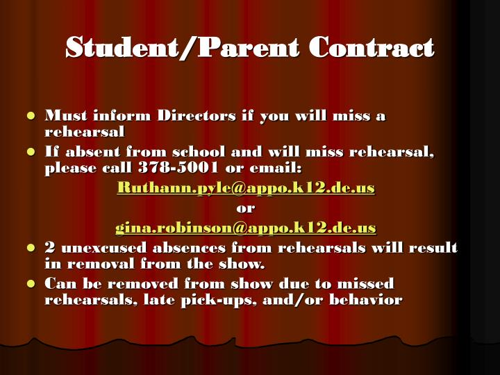 Student parent contract