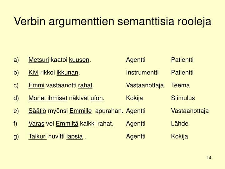 Verbin argumenttien semanttisia rooleja