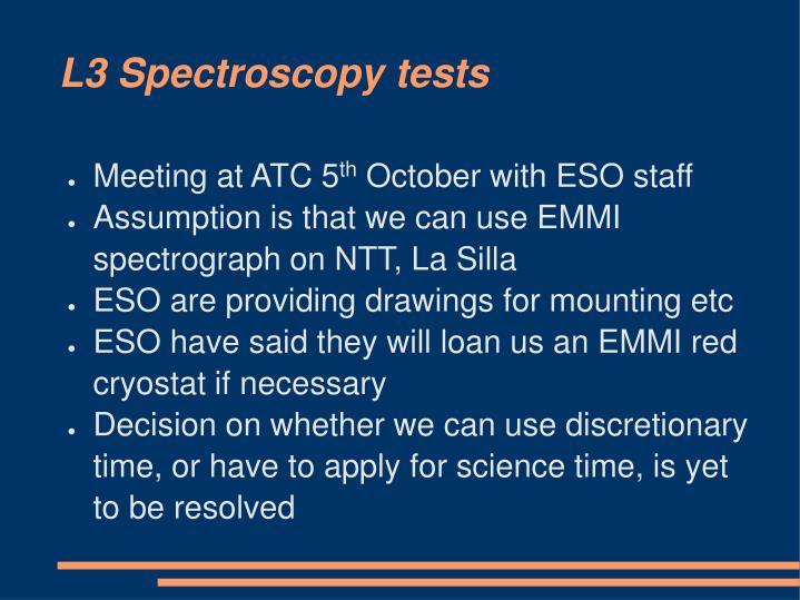 L3 Spectroscopy tests