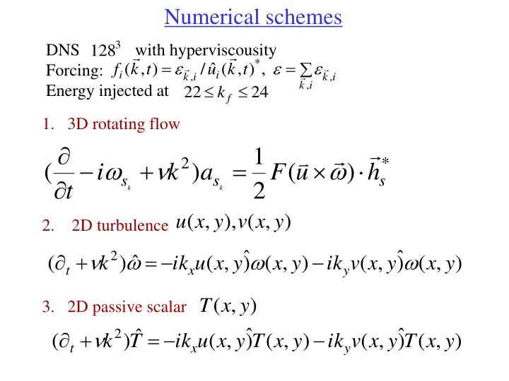Numerical schemes