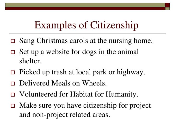 Examples of Citizenship