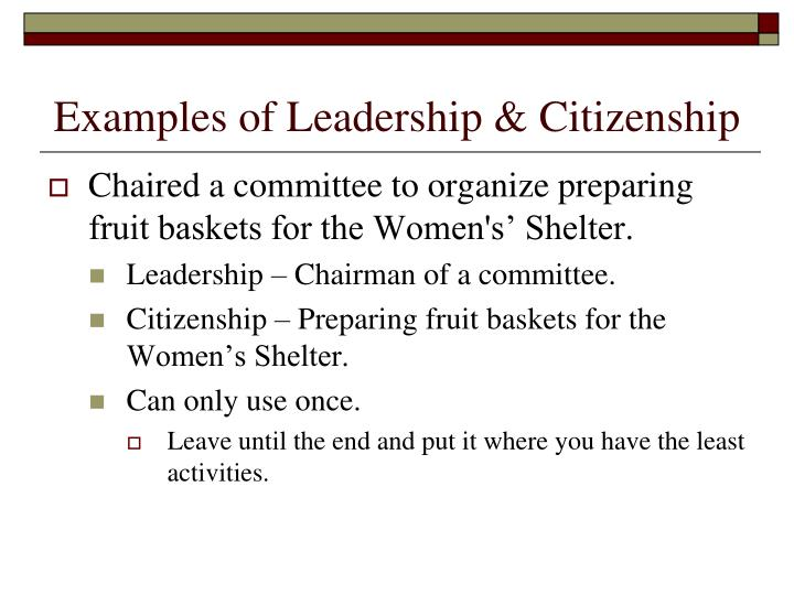 Examples of Leadership & Citizenship