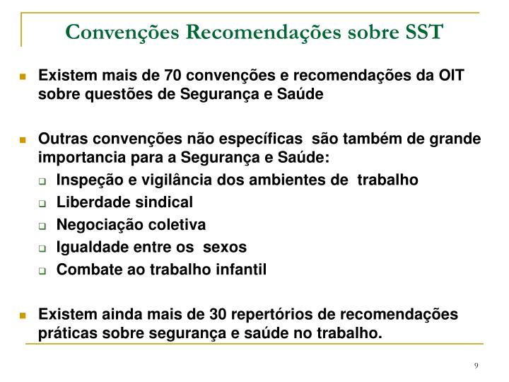 Convenções Recomendações sobre SST