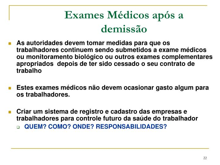 Exames Médicos após a demissão