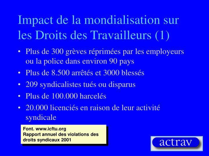Impact de la mondialisation sur les Droits des Travailleurs (1)