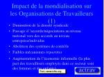 impact de la mondialisation sur les organisations de travailleurs 1