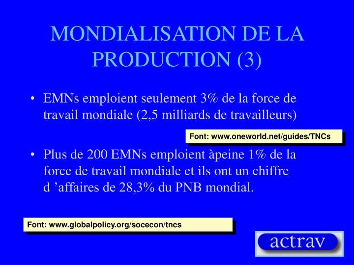 MONDIALISATION DE LA PRODUCTION (3)