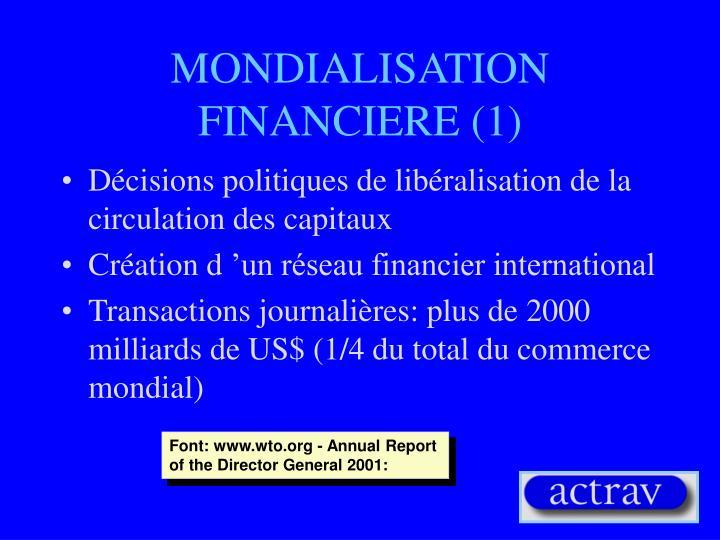 MONDIALISATION FINANCIERE (1)