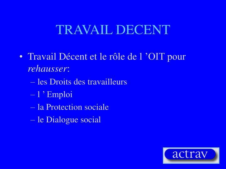 TRAVAIL DECENT