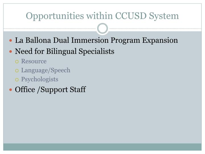 Opportunities within ccusd system