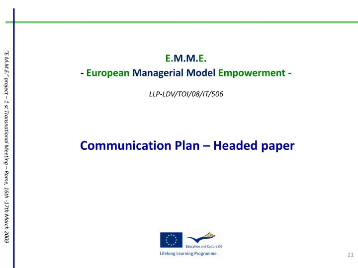 Communication Plan – Headed paper