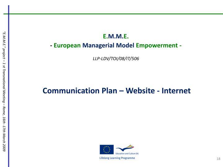 Communication Plan – Website - Internet